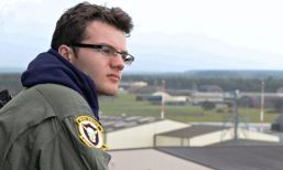 Stephen Sutton on the air traffic control tower at RAF Lakenheath, when he was pilot for a day